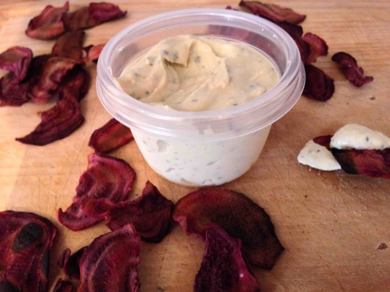 Beet chips with ranch dip vegan